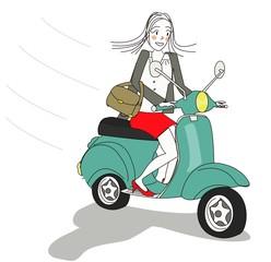 femme moderne scooter