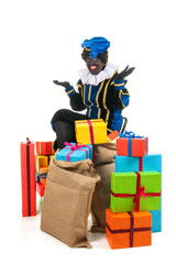 Dutch black pete with many presents