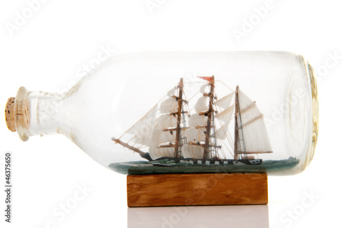 Old boat in bottle