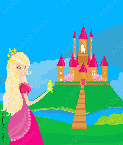 Papiers peints Chateau Beautiful young princess holding a big green frog
