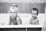 Young children in bathroom