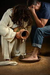 Jesus Washing Feet of Man