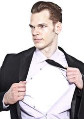 Büromensch transformiert zu Superheld