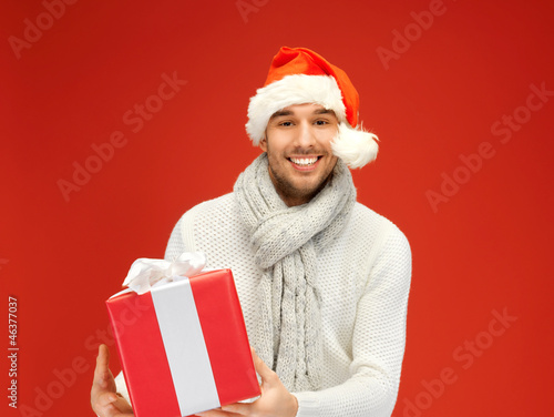 handsome man in christmas hat