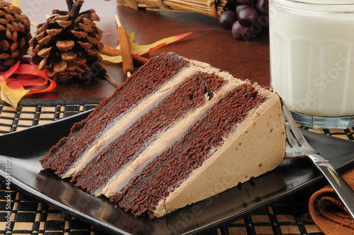 Chocolate espresso cake with milk