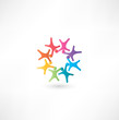 Team symbol. Multicolored people