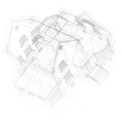 Architectural background with a 3D building mode