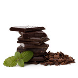Chocolate bars stack and mint leaf