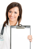 Doctor showing clipboard with copyspace, on white