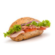 fast food baguette sandwich with lettuce, tomato, ham and chees