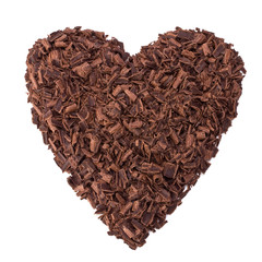 chocolate heart isolated on white
