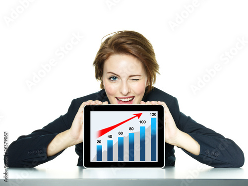 canvas print picture Business woman winking succesful over her tablet pc