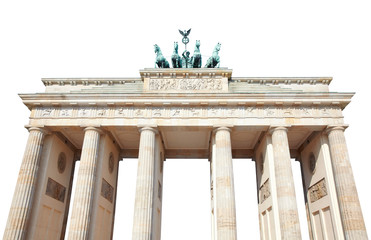 Brandenburg gate on white with clipping path