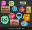 Collection of colored shopping labels-vector