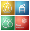 Simple vector christmas decoration card- vector