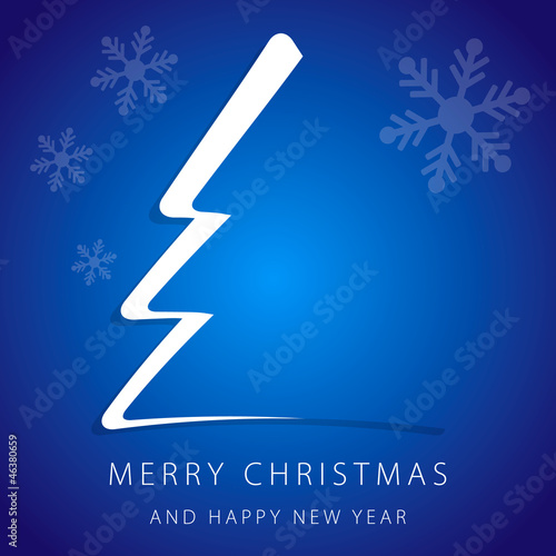 Greeting card Merry Christmas with blue background