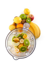 Electrical blender whit fruits, isolated on white background