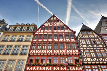 Half-timbered buildings in the Römerberg square of Frankfurt am
