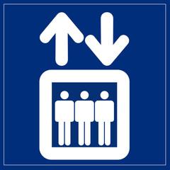 Schild blau - Fahrstuhl