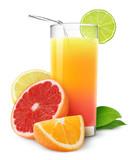 Fresh citrus juice isolated on white