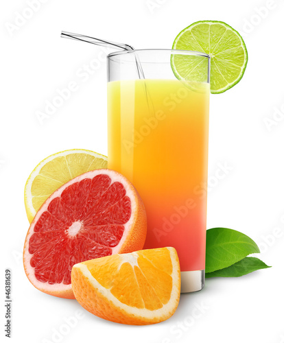 Fresh citrus juice isolated on white