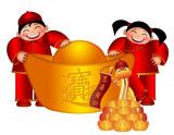 Chinese Boy and Girl Holding Big Gold Bar  with Snake Illustrati