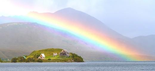 rainbow above kurilskoe lake