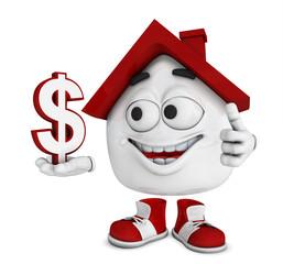 Kleines 3D Haus Rot - Dollar Symbol