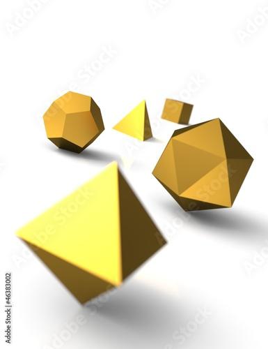 Platonische Körper in 3D - Edel Gold 3