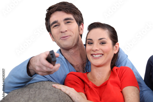 Couple enjoying a film together