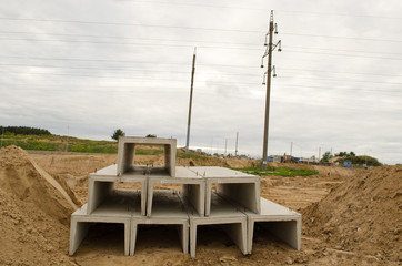 concrete block molds construction site