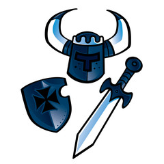 The Knights equipment (helmet, shield, sword)