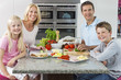 Parents Children Family Preparing Healthy Food