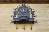 Clock chimes in Laguardia in Alava, Spain poster