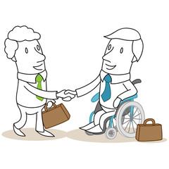 Geschäftsleute, Handschlag, Geschäftspartner, Rollstuhl