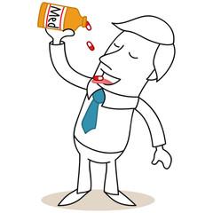 Geschäftsmann, Medikamente, Abhängigkeit, krank, Pillen