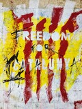 Freedom For Catalunya drawing on wall poster