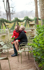 Romantic couple in a park at spring, dating