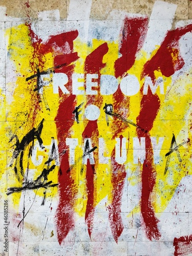 Freedom For Catalunya drawing on wall