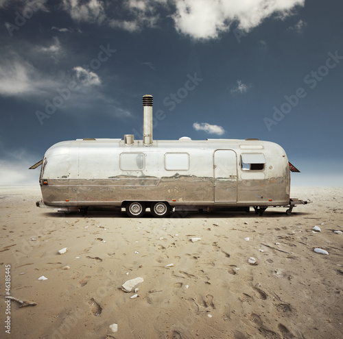 steel caravan in the desert