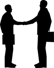 business men shaking hands in silhouette