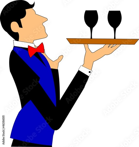 waiter with tray of wine glasses
