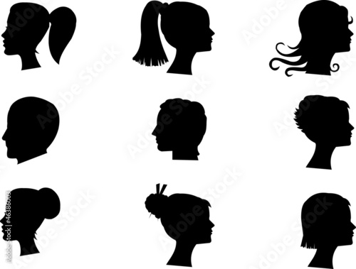 male and female heads in silhouettes