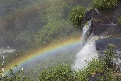 Rainbow from the top of Iguazu falls, Argentina, South America