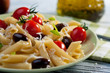 Pasta with fresh tomatoes and olives