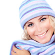 Female dressed in wool cap
