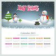 Calendar 2013 Merry christmas and snowman background