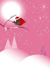 Christmas Robin in Pink Moonlit Winter Scene