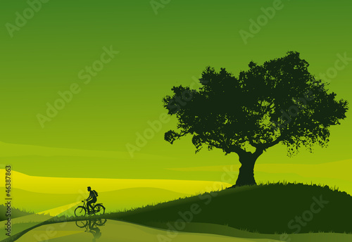 Cyclist in a green dawn