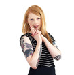 Red Head Looking Sultry at Camera with Hands in Shape of a Gun w